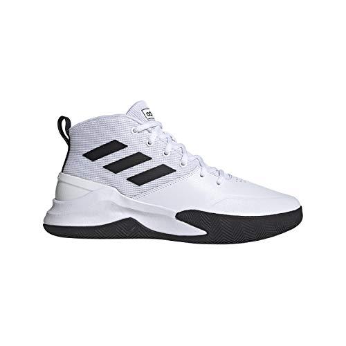 adidas Men's OwnTheGame Basketball Shoe, White/Black/White, 9 M US