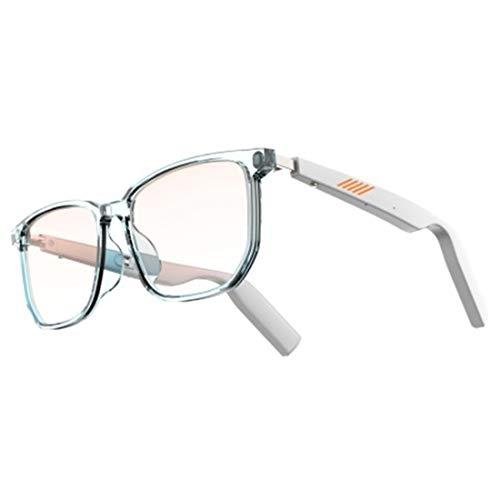 Smart Bluetooth Headset Blue Light Blocking Computer Glasses Open Audio Waterproof [Anti-Eye Fatigue] Driving Game Glasses for Women Men Classic White