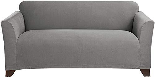Surefit Sure Home Décor Stretch Morgan Box Cushion Loveseat One Piece Slipcover, Form Fit, Polyester/Spandex, Machine Washable, Gray Color