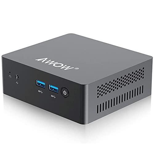 Mini PC Windows 10 AWOW Mini Desktop Computer Intel Celeron N3450, 8GB DDR4 128GB SSD 4K@30Hz, HDMI x2, Dual Band WiFi, USB x4 Gigabit Ethernet, BT 4.2 AL34 Micro PC