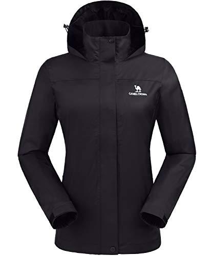 CAMEL CROWN Womens Waterproof Rain Jacket Lightweight Hooded Windbreaker Windproof Rain Coat Shell for Outdoor Hiking Traveling Black M