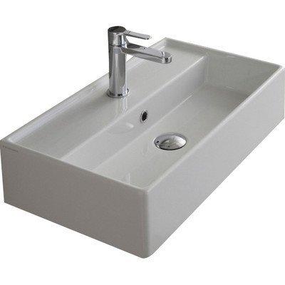 Scarabeo 5002-One Hole Teorema Rectangular Ceramic Wall Mounted/Vessel Sink, White