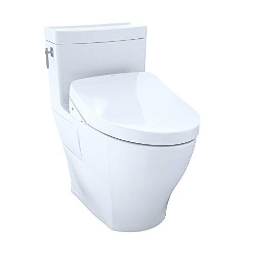 TOTO MW6263056CEFG#01 Kit Aimes Elongated 1.28 GPF Contemporary WASHLET S550e Bidet Seat, White-MW6263056CEFG One-Piece Toilet, Cotton White