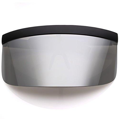 sunglassLA - Futuristic Oversize Shield Visor Sunglasses Flat Top Mirrored Mono Lens 172mm (Silver Mirror)