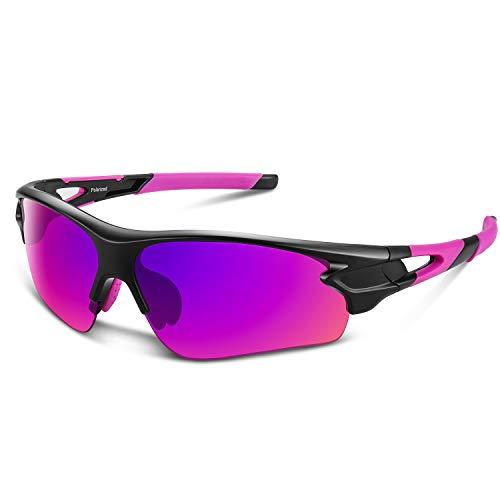 Polarized Sports Sunglasses for Men Women Youth Baseball Fishing Cycling Running Golf Motorcycle Tac Glasses UV400 (Pink)