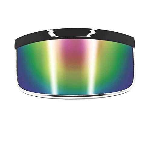 GloFX Visor Sunglasses - Rainbow Mirror - Oversized Flat Futuristic Face Shield Mono Galactic Invader
