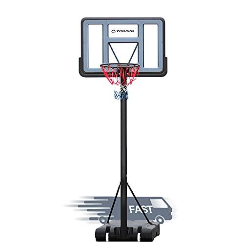 WIN.MAX Portable Basketball Hoop Goal System 5-10ft Adjustable 44in Backboard for Kids/Adults Indoor Outdoor… (PVC Backboard)
