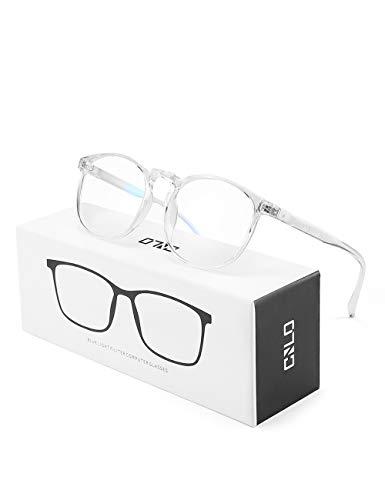 CNLO BluelightblockingGlasses,ComputerGlasses,Radiation protection Gaming Glasses,For UV Protection, Anti Eyestrain,Lightweight Frame Eyewear,Men/Women (Crystal)
