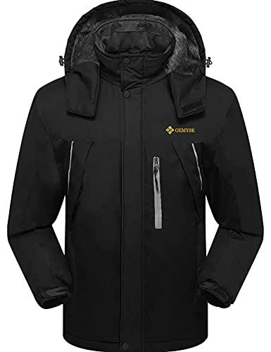 GEMYSE Men's Mountain Waterproof Ski Snow Jacket Winter Windproof Rain Jacket (Black-2,X-Large)