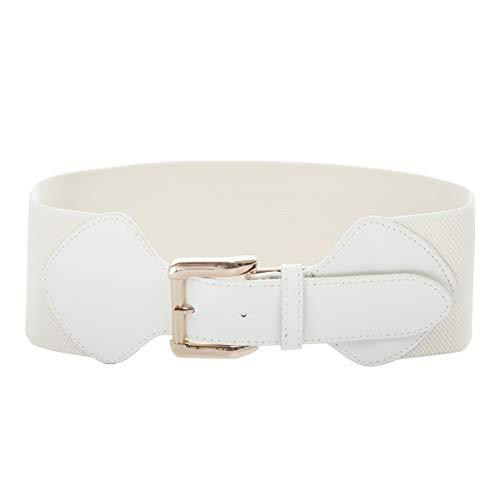 50s Vintage Leather Elastic Cinch Belt Waistbelt White Size M CL998-2