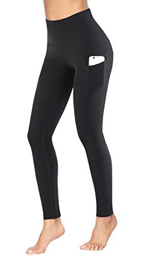 Fengbay High Waist Yoga Pants, Pocket Yoga Pants Tummy Control Workout Running 4 Way Stretch Yoga Leggings Black