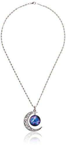 Magic Metal Crescent Moon and Cosmic Nebula Necklace Vintage Silver Tone Lunar Filigree Pendant NQ59 Fashion Jewelry