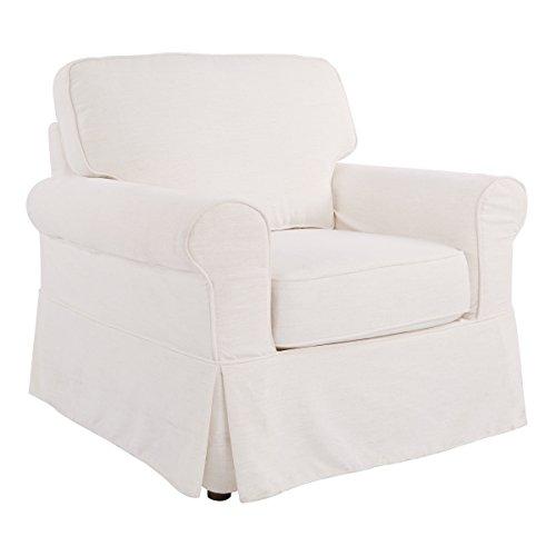 OSP Home Furnishings Ashton Slipcover Round Arm Chair, Ivory