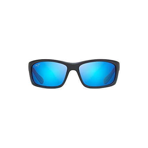 Maui Jim Kanaio Coast w/ Patented PolarizedPlus2 Lenses Polarized Wrap Sunglasses, Matte Trans. Blue Black Stripe/Blue Hawaii Polarized, Medium