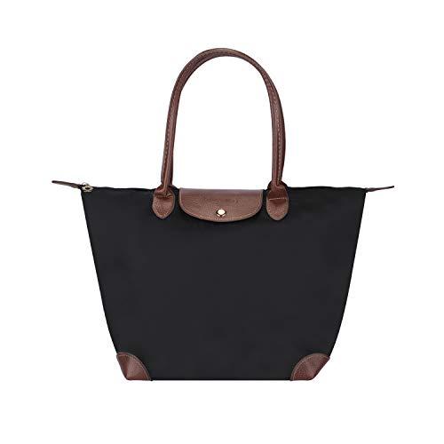 Waterproof Tote Shoulder Bag for Women, Large Capacity Foldable Tote Bag, Portable Handbag for Day Hiking, Travel, Shopping - Blue