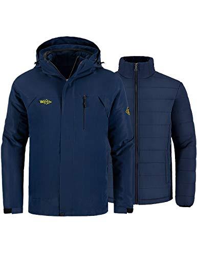 Wantdo Men's 3-in-1 Ski Jacket Raincoat Cotton Padded Casual wear Dark Blue XL