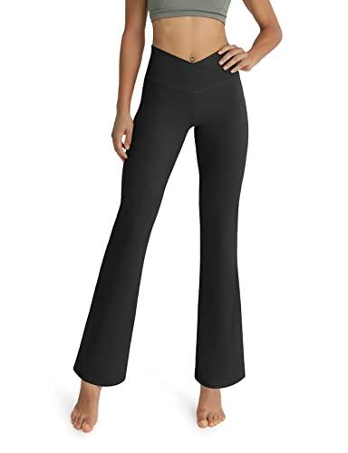 ODODOS Women's Cross Waist Bootcut Yoga Pants with Inner Pocket, Non See Through Bootleg Gym Workout Pants, Black, X-Large