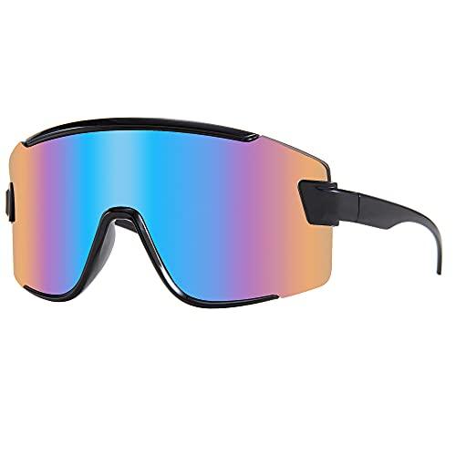 Karsaer Vision Shield Wraparound Sunglasses One Piece Oversized Visor Mirror Sport Glasses Outdoor Cycling 80s