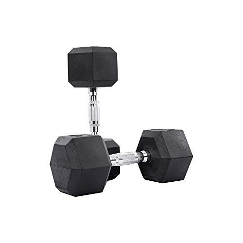Clean Nut - Hex Rubber Dumbbells with Metal Handles - Choose Single or Pair - 15LB, 20LB (20 LB Pair (2 Dumbbells))