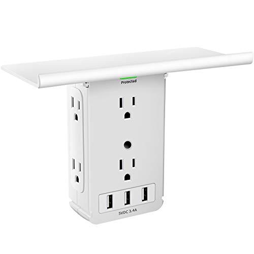 Socket Outlet Shelf 9 Port with Surge Protector, Wall Outlet Shelf Outlet Extender with 6 AC Outlet 3 USB Charging Port Bathroom Outlet Plug Expansion with Removable Built-In Shelf