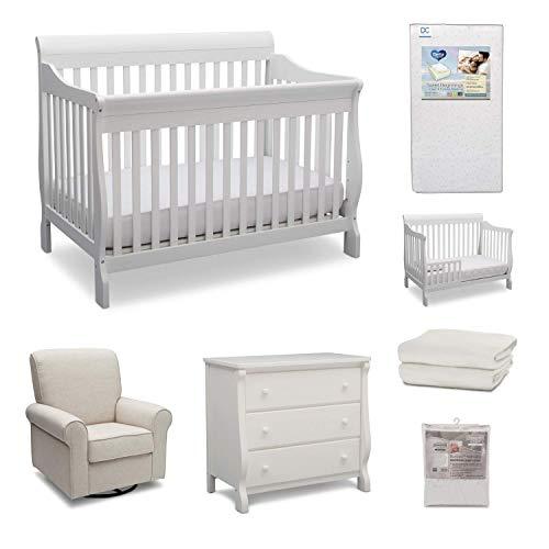 Delta Children Canton 7-Piece Baby Nursery Furniture Set – Includes: Convertible Crib, Dresser, Glider, Crib Mattress, Fitted Crib Sheets, Mattress Pad Cover and Toddler Guardrail, Bianca White/Sand