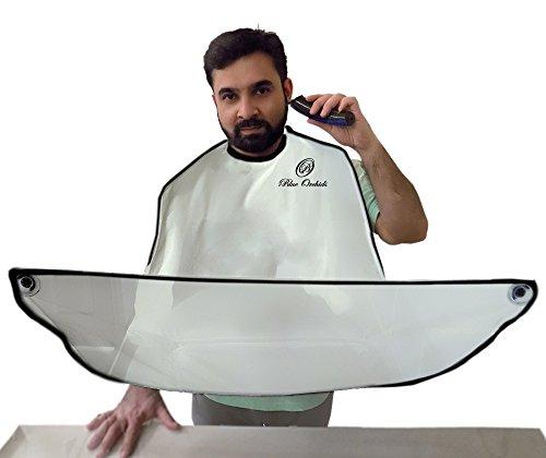Beard Catcher - Beard Shaving Apron and bib for catching facial Hair Clippings (White)