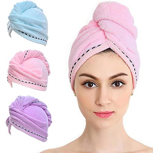Vinker 3 Pack Hair Towel Wrap, Microfiber Quick Drying Hair Towels, Bath Dryer Caps, Bath Hair Drying Towel, Quick Dryer Hat for Women Girls