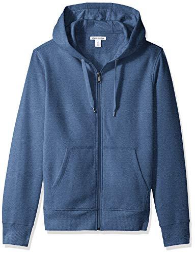 Amazon Essentials Men's Full-Zip Hooded Fleece Sweatshirt, Blue Heather, Medium