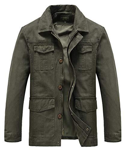 Heihuohua Men's Casual Flat Collar Cotton Jacket Military Lightweight Windbreaker, Army Green, US Large/Tag Size 2XL