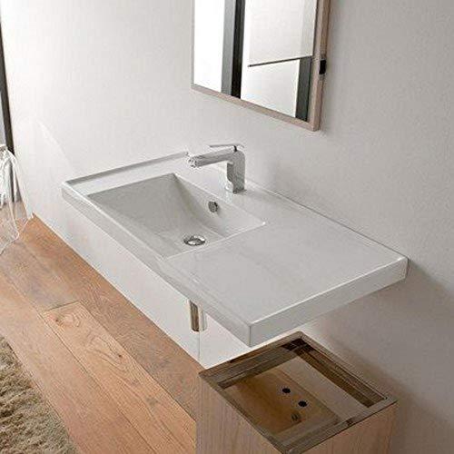 Scarabeo 3008-One Hole ML Rectangular Ceramic Self Rimming/Wall Mounted Bathroom Sink, White