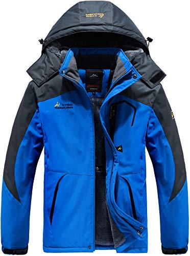 Vcansion Men's Winter Fleece Mountain Ski Jacket Waterproof Snowboard Jacket Coat Windbreaker Snowboarding Jacket Raincoat Removable Hooded Blue L
