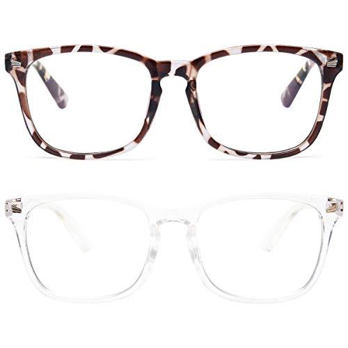 Livho 2 Pack Blue Light Blocking Glasses, Computer Reading/Gaming/TV/Phones Glasses for Women Men,Anti Eyestrain & UV Glare (Leopord+Clear)