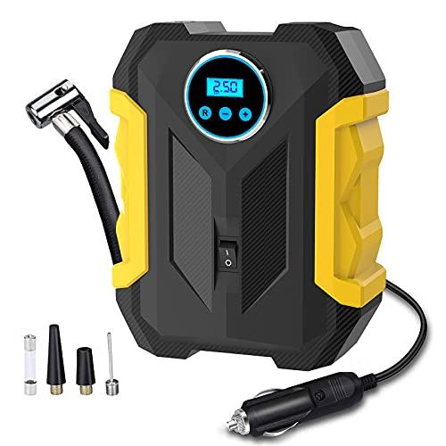 Digital Air Compressor for Car Auto Pump Portable Tire Inflator with LED Light DC 12V
