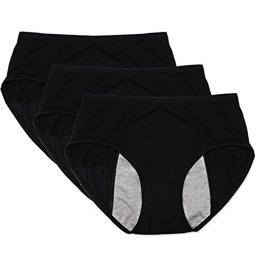 Funcy Women Menstrual Period Protective Panties Leakproof Brief Postpartum Bleeding Underwear(3Black L)