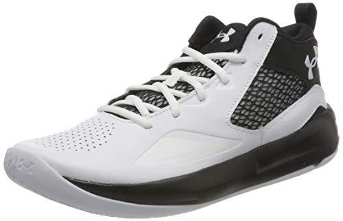 Under Armour Men's Lockdown 5 Basketball Shoe, White (100)/Black, 11