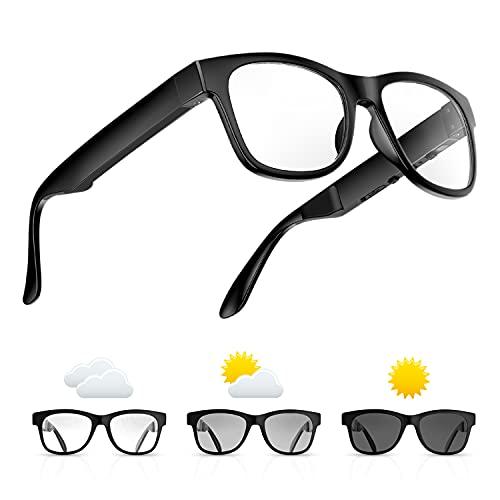 Bone Conduction Glasses, Open-Ear Headphones Bluetooth, Photochromic Sunglasses Anti Blue Ray, IP6 Waterproof Audio Glasses, Hand-Free Calling and Music, Smart Glasses for Women and Men