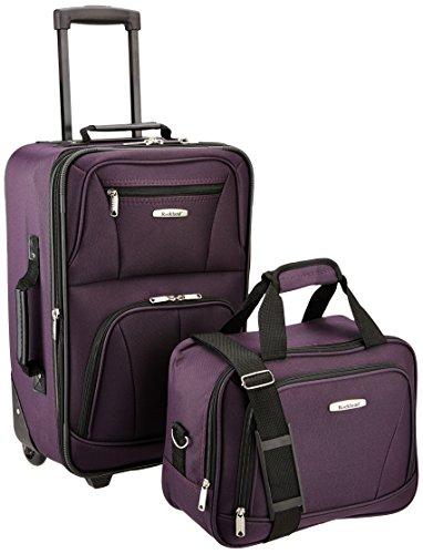 Rockland Fashion Softside Upright Luggage Set, Purple
