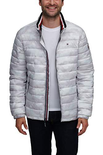 Tommy Hilfiger Men's Wet Look Water Resistant Ultra Loft Down Alternative Puffer Jacket, Ice Camouflage, XX-Large