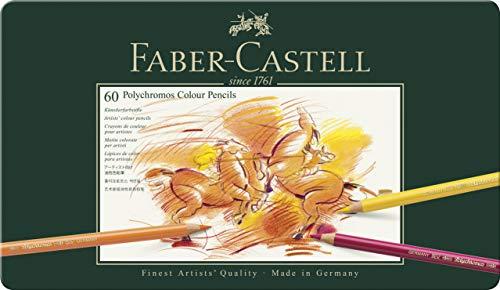 Faber-Castel 110060 Polychromos Colored Pencil Set In Metal Tin, 60 Pieces