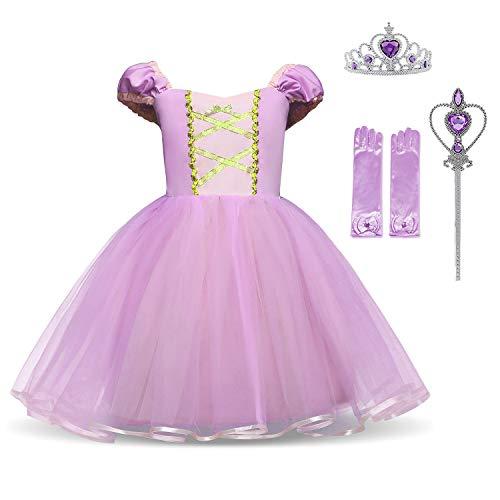 HNXDYY Princess Girls Dress Fancy Party Costume Size (100) 2-3 Years Purple