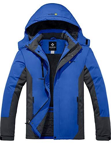 GEMYSE Men's Mountain Waterproof Ski Snow Jacket Winter Windproof Rain Jacket (Blue Grey, L)