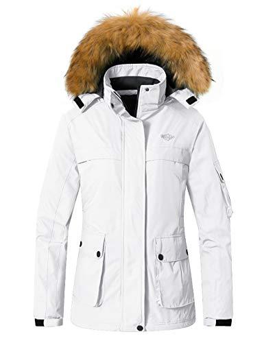 Wantdo Women's Mountain Ski Jacket Winter Insulated Windproof Rainwear White L
