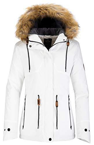 Wantdo Women's Waterproof Snow Jacket Cotton Padded Winter Coat Raincoat White S