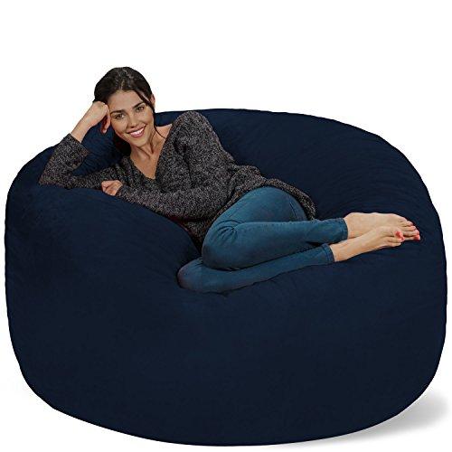 Chill Sack Bean Bag Chair: Giant 5' Memory Foam Furniture Bean Bag - Big Sofa with Soft Micro Fiber Cover - Navy