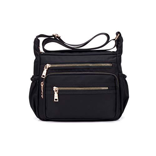 NOTAG Nylon Crossbody Bags for Women Small Waterproof Cross Body Handbag Mutilpockets Shoulder Bags Lightweight Travel Purses(Black)