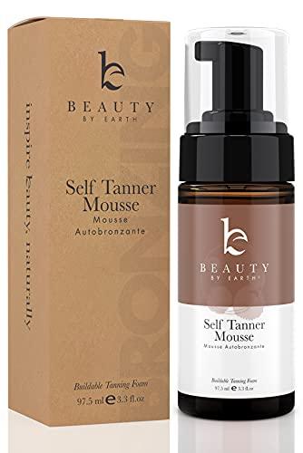 Self Tanner Mousse - Self Tan with Organic Botanicals, Tanning Foam Self Tanning Mousse for a Bronzer Sunless Tan on Body or Face, Dye Free Fake Tan, Vegan & USA Made (3.3 oz, Medium to Dark)