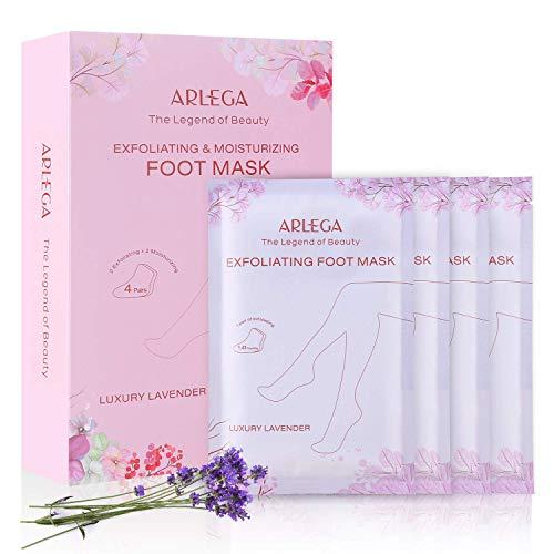 Foot Peel Mask 4 Pack, Arlega Exfoliating & Moisturizing Foot Mask, Peel off Calluses, Dead Skin Callus Remover, Moisturizing & Whitening Skins for Men & Women, Lavender