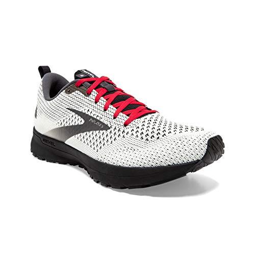 Brooks Mens Revel 4 Running Shoe - White/Black/Red - D - 11.5