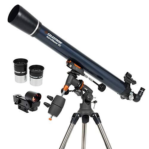Celestron - AstroMaster 90EQ Refractor Telescope - Refractor Telescope for Beginners - Fully-Coated Glass Optics - Adjustable-Height Tripod - BONUS Astronomy Software Package