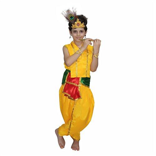 Kaku Fancy Dresses Bal Krishna Costume for Krishnaleela/Janmashtami/Kanha/Mythological Character -Yellow, 2-3 Years, for Boys